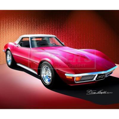 Corvette Fine Art Print By Danny Whitfield, 20x24, StingrayRoadster, Spring Rose, 1972