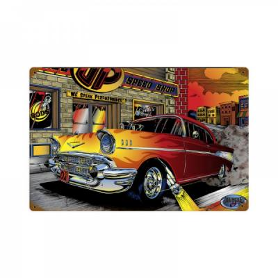 Chevy Metal Sign, 57 Speed Shop