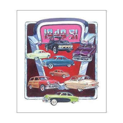 Poster - Depicts Classic Fords From 1949-51 - 27 X 36