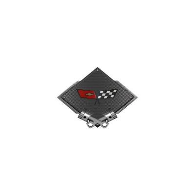 "Corvette C3 1982 Emblem Metal Sign, Black Carbon Fiber, Crossed Pistons, 25"" X 19"""