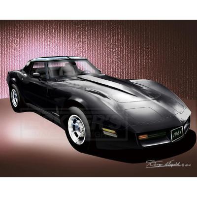 Corvette Fine Art Print By Danny Whitfield, 20x24, StingrayCoupe, Black, 1981