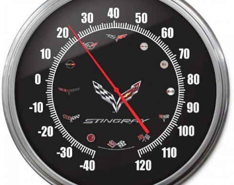 Corvette Thermometer, C7 Flag Emblem With C1-C6 Emblems, 14Inch