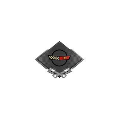 "Corvette C4 1984-1990 Emblem Metal Sign, Black Carbon Fiber, Crossed Pistons, 25"" X 19"""