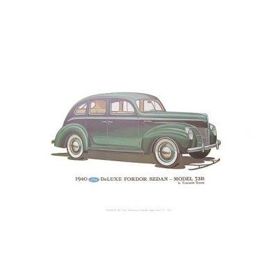 Print - 1940 Ford Deluxe Fordor Sedan (73B) - 12 X 18 - Unframed