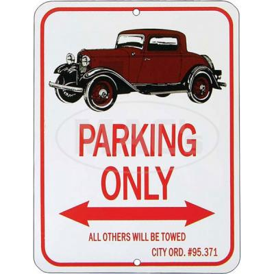 """3-window Coupe """"Parking Only"""" Sign"""