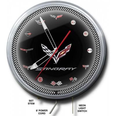 Corvette Neon Clock, C7 Flag Emblem With C1-C6 Model, 20 Inch