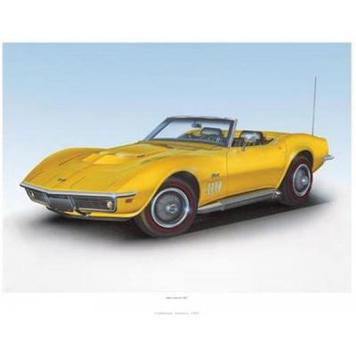 1969 Corvette Daytona Yellow Print By Hugo Prado