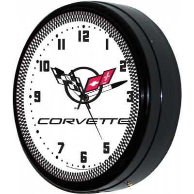 Corvette Wall Clock, With C5 Logo, Neon, White, 20""