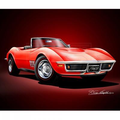 Corvette Fine Art Print By Danny Whitfield, 14x18, 427 Stingray Roadster, Monza Red, 1969