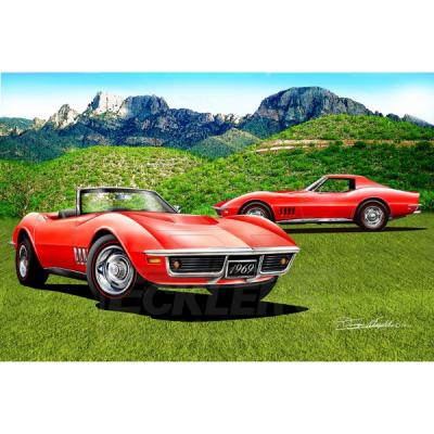 Corvette Fine Art Print By Danny Whitfield, 20x30, StingrayRoadster, Arizona Edition, 1968-1969