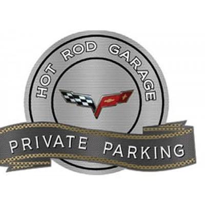"Corvette C6 2005-2013 Emblem Hot Rod Garage Private ParkingMetal Sign, 18"" X 14"""