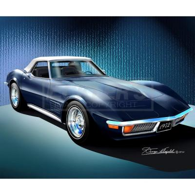 Corvette Fine Art Print By Danny Whitfield, 14x18, StingrayRoadster, Bryar Blue, 1972