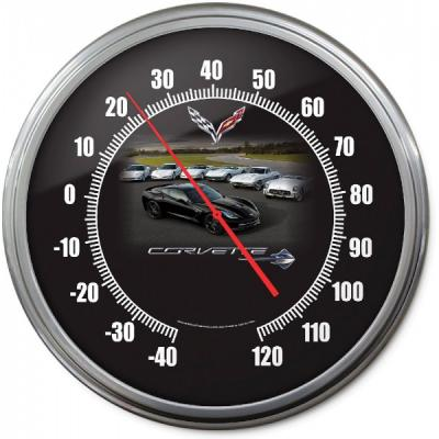 Corvette Thermometer, C7 Car With C1-C6 Model, 14 Inch