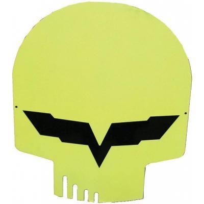 "Corvette Jake Metal Sign, Yellow Head Skull, 12"" X 10"""