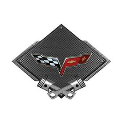 "Corvette C6 2005-2013 Emblem Metal Sign, Black Carbon Fiber, Crossed Pistons, 25"" X 19"""