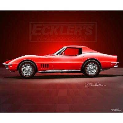 Corvette Fine Art Print By Danny Whitfield, 14x18, StingrayCoupe, Rally Red, 1968