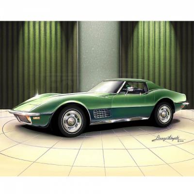 Corvette Fine Art Print By Danny Whitfield, 14x18, StingrayCoupe, Citrus Green, 1970