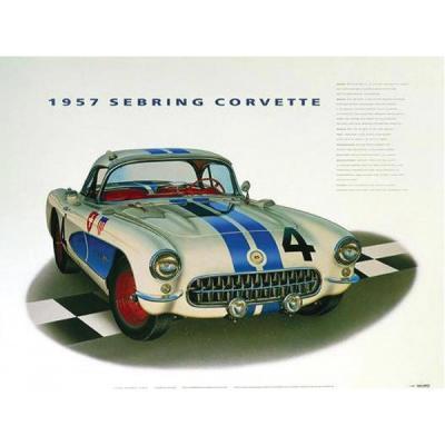 1957 Sebring Corvette Print By Hugo Prado
