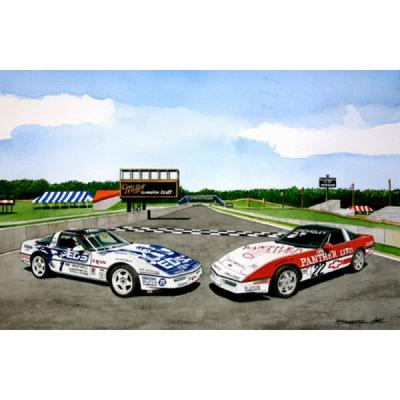 Corvette Challenge Corvettes, Fine Art Print By Dana Forrester, 11x17