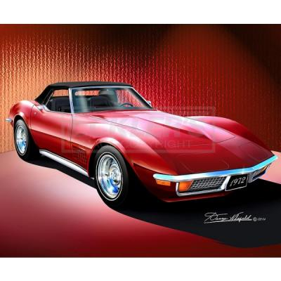Corvette Fine Art Print By Danny Whitfield, 20x24, StingrayConvertible, Mille Miglia Red, 1972