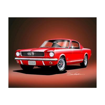 Mustang GT 2+2 Bright Red Fine Art Print By Danny Whitfield, 1966
