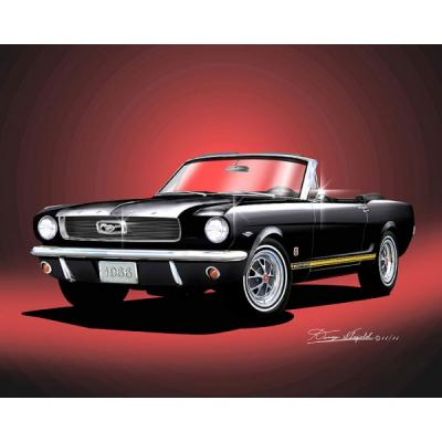 Mustang GT Convertible Fine Art Print By Danny Whitfield, 1966 Raven Black