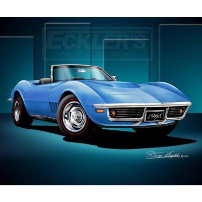 Corvette Fine Art Print By Danny Whitfield, 14x18, StingrayRoadster, Le Mans Blue, 1968