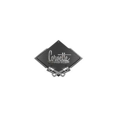 "Corvette 1966-1967 Stingray Emblem Metal Sign, Black CarbonFiber, Crossed Pistons, 25"" X 19"""