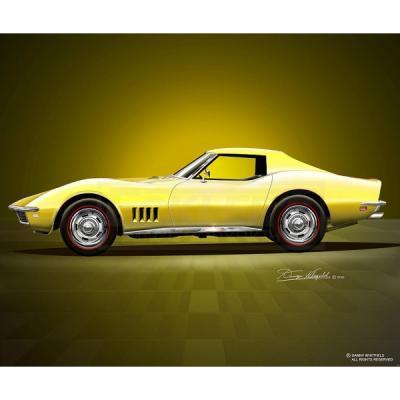 Corvette Fine Art Print By Danny Whitfield, 14x18, StingrayCoupe, Safari Yellow, 1968