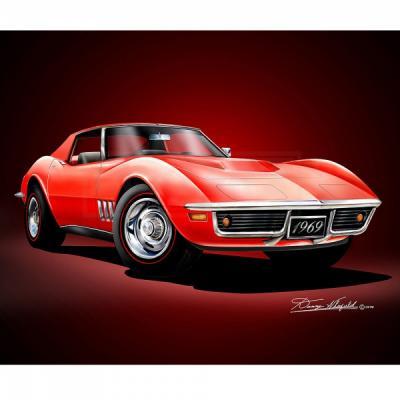 Corvette Fine Art Print By Danny Whitfield, 20x24, 427 Stingray Coupe, Monza Red, 1969