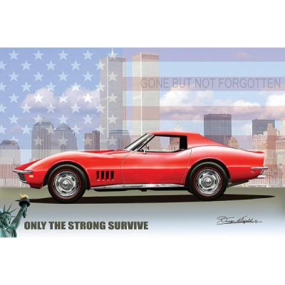 Corvette Fine Art Print By Danny Whitfield, 16x20, Stingray, Only The Strong Survive, 1968