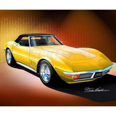 Corvette Fine Art Print By Danny Whitfield, 14x18, StingrayConvertible, Sunflower Yellow, 1972
