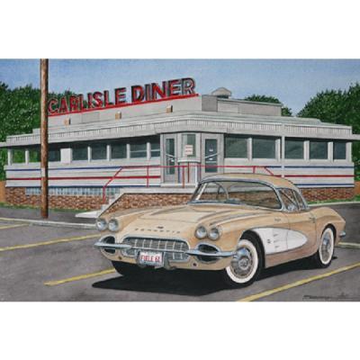 Corvette Breakfast In Carisle, Fine Art Print By Dana Forrester, 11x17