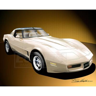 Corvette Fine Art Print By Danny Whitfield, 20x24, StingrayCoupe, Frost Beige, 1981
