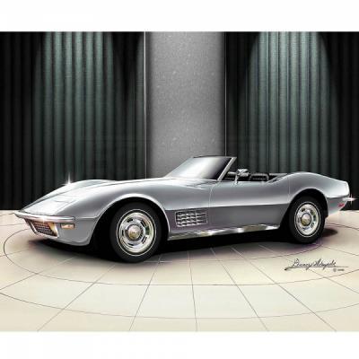 Corvette Fine Art Print By Danny Whitfield, 20x24, StingrayConvertible, Cortez Silver, 1970