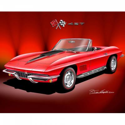 Fine Art Print By Danny Whitfield, 16x20, 427 Corvette Roadster, 1967