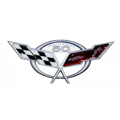"Corvette C5 50th Anniversary Metal Sign, 30"" X 12"""