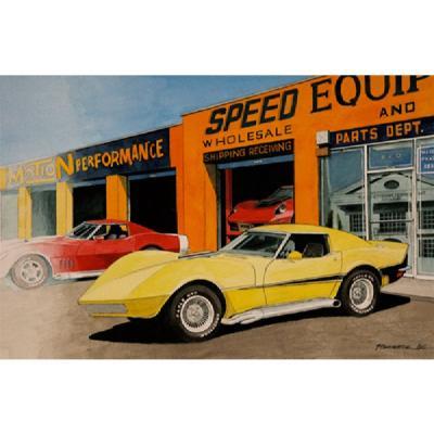 Corvette Birthplace Of Motion, Fine Art Print By Dana Forrester, 11x17