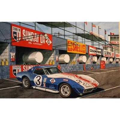 Corvette Before The Start, Fine Art Print By Dana Forrester, 11x17