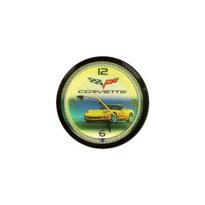 Corvette Yellow Neon Wall Clock With C6 Car