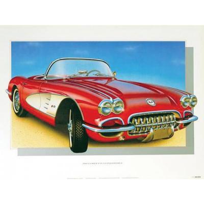 1960 Corvette Roman-Red Print By Hugo Prado