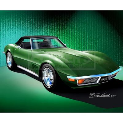 Corvette Fine Art Print By Danny Whitfield, 14x18, StingrayConvertible, Elkhart Green, 1972