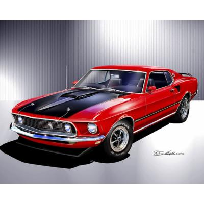 Mustang Mach-1 Fine Art Print By Danny Whitfield, 1969