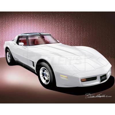 Corvette Fine Art Print By Danny Whitfield, 20x24, StingrayCoupe, Classic White, 1981
