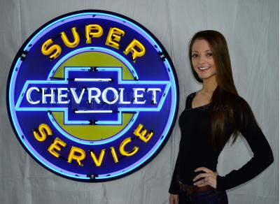 Neonetics Big Neon Signs in Steel Cans, Super Chevrolet Service 36 Inch Neon Sign in Metal Can