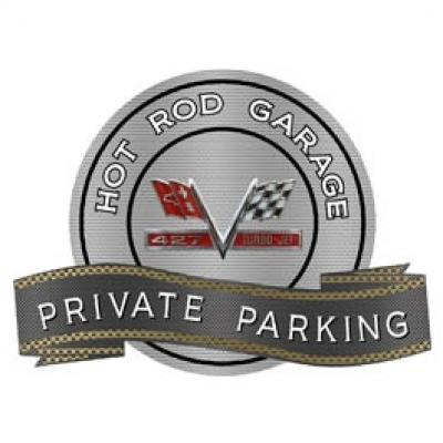 Chevy 427 Turbo Jet Hot Rod Garage Private Parking Metal Sign, 18 X 14