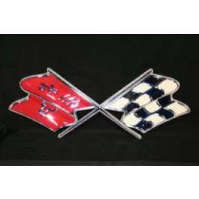 Full Size Chevy Metal Sign, Cross Flags