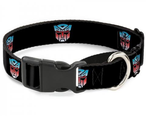 Plastic Martingale Collar - Autobot Logo Repeat Black/Blue-Red Fade