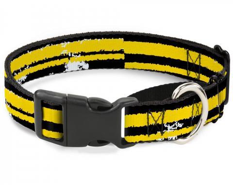 Plastic Martingale Collar - Racing Stripe2 Weathered Black/Yellow