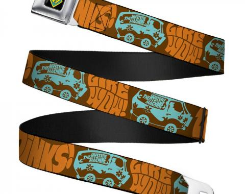 SD Dog Tag Full Color Black/Yellow/Blue Seatbelt Belt - ZOINKS! & The Mystery Machine Webbing